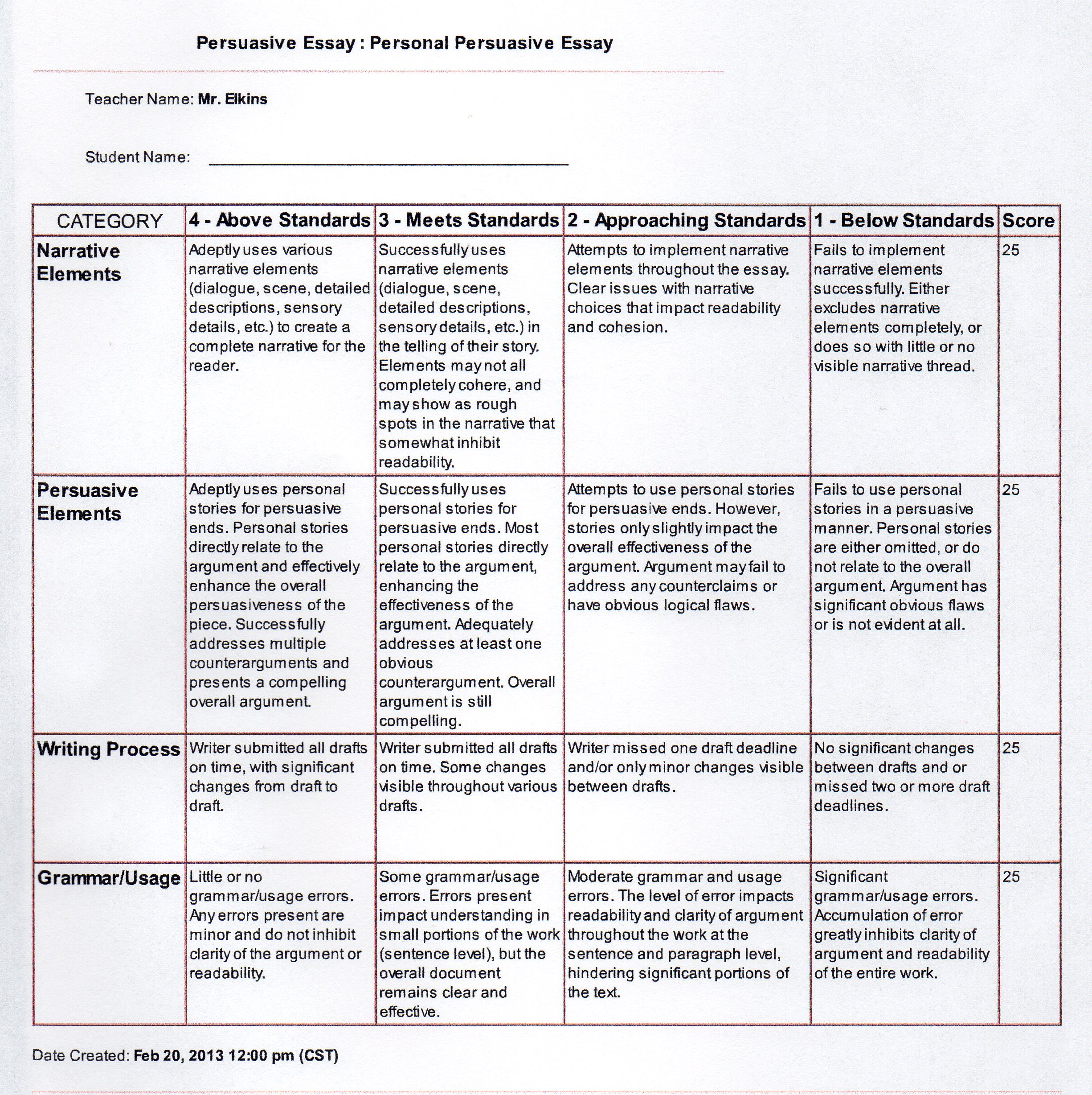 rubrics for writing a research paper Research paper rubric as in all writing assignments, you will be assessed in accordance with the 6 + 1 traits of writing rubric for this particular assignment, a.